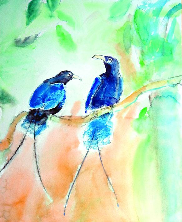 """akvarell \""""Paradiisilinnud\"""""""
