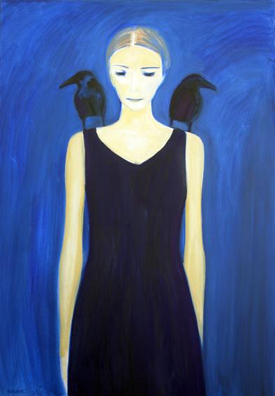 """õlimaal \""""Tüdruk ja mustad linnud\"""" / oil painting \""""Girl with Black Birds\"""""""