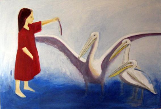 """õlimaal \""""Pelikanitüdruk\"""" / oil painting \""""Girl with Pelecanuses\"""""""