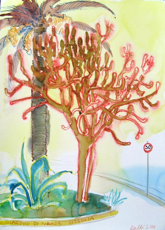 "akvarell \""Giardini di Naxose tänav\"" / \""Street in Giardini di Naxos\"" aquarelle"
