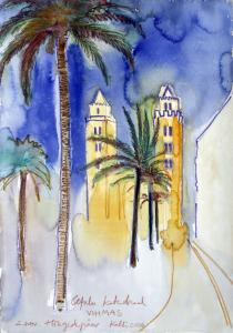 "akvarell \""Cefalu katedraal vihmas\"" / Cefalu cathedral in rein\"" aquarelle"