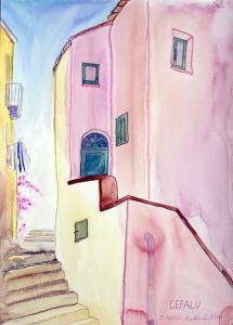 """akvarell \""""Cefalu\"""" / aquarelle"""