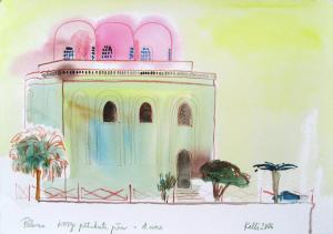"""akvarell \""""Palermo, kõigi pähakute päev\"""" / aquarelle"""