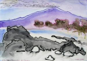 """akvarell \""""Tossav Etna\"""" / \""""Fume from Etna\"""" aquarelle"""