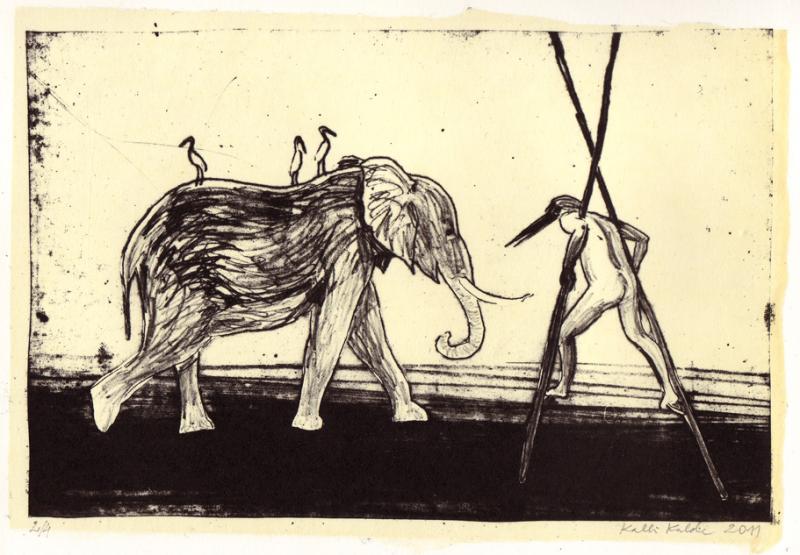"lito \""Elevant ja kurgmees\"" /  \""Elefant and storkmen\"" algraphy"