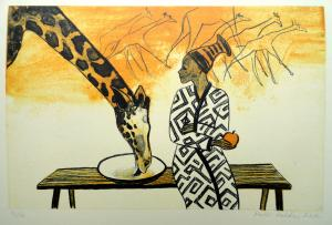 """lito \""""Tüdruk ja kaelkirjak\"""" / Girl and giraffe\"""" algraphy"""
