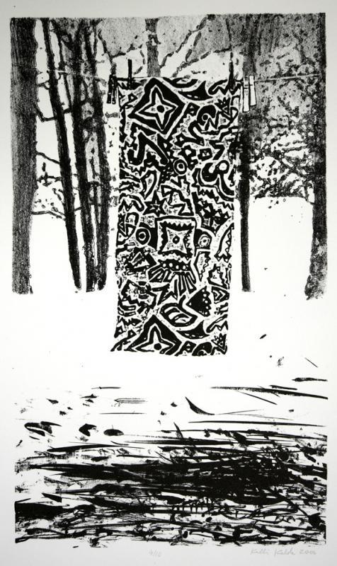 "lito \""Talvine vaikelu\"" / \""Winter Still-life\"" lithography"