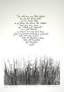 """lito \""""Luuletus\"""" (Jaan Kaplinski) / \""""Ditty\"""" litography"""