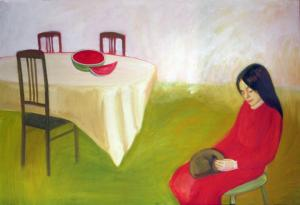 """õlimaal \""""Arbuusi ja kassiga\"""" / oil painting \""""Kirke with cat\"""""""
