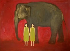 """õlimaal \""""Elevant ja tüdrukud\"""" / oil painting \""""Elefant and girls\"""""""