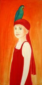 "õlimaal \""Tüdruk papagoiga\"" / oil painting \""Girl with Parrot\"" 2006"
