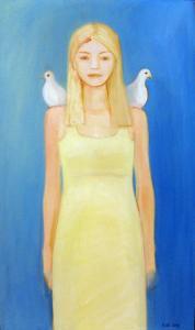 "õlimaal \""Tuvitüdruk\"" / oil painting \""Girl with Doves\"""