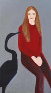 """õlimaal \""""Tüdruk ja haigur\"""" / oil painting \""""Girl with Black Egret\"""""""